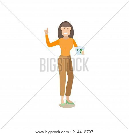 Vector illustration of travel agency worker female offering tours and trips for travelers. Tour operator flat style design element, icon isolated on white background.