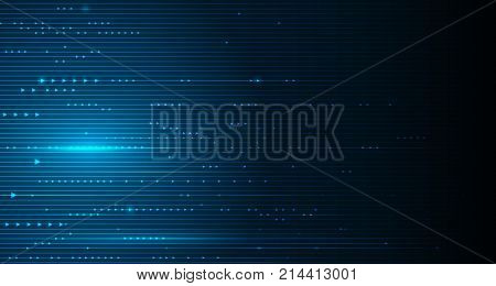 Vector illustration smooth lines in dark blue color background. Hi-tech digital technology concept. Abstract futuristic shiny lines background