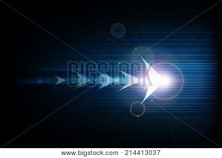 Vector illustration abstract arrow symbol forward and smooth lines in dark blue color background. Hi-tech digital technology and innovation concept. Abstract futuristic shiny lines background