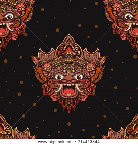 Seamless outline pattern with barong mask in black and white colors. Hand drawn design for fashion, textile, fabric, wrapping paper, tiles, website wallpaper, background.