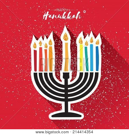 Happy Hanukkah Greeting card. Hanuka juish vector illustration. jewish menorah - traditional candelabra and burning candles. Hanuka candles symbol. Red background. Vector illustrator