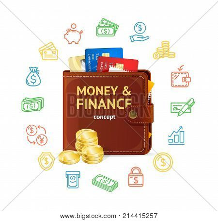 Money Finance Concept with Realistic 3d Detailed Wallet, Plastic Credit Card, Coin Stack and Outline Icons. Vector illustration