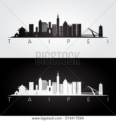 Taipei skyline and landmarks silhouette black and white design vector illustration.