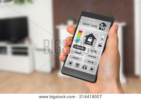 Smart Home Control App On Smartphone - Smart Home Concept