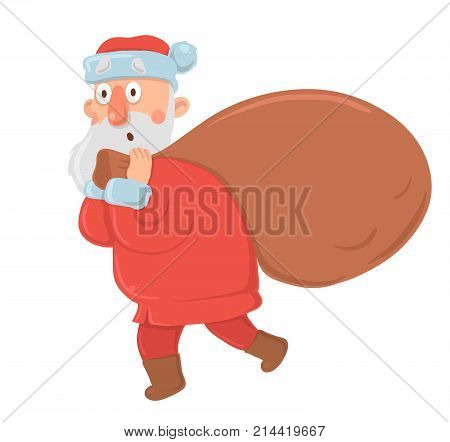 Funny bewildered Santa Claus with big bag of gifts stares in awe on white background. Santa looks confused, embarrassed, surprised. Isolated vector illustration. Cartoon character.