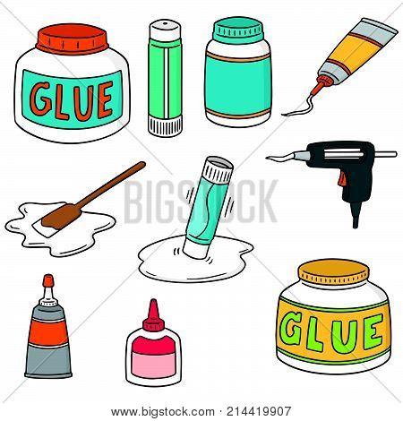 vector set of glue hand drawn cartoon