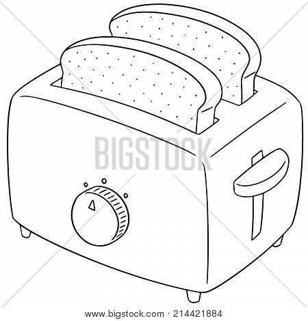 vector set of bread and toaster hand drawn cartoon