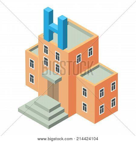 Hospital icon. Isometric illustration of hospital vector icon for web