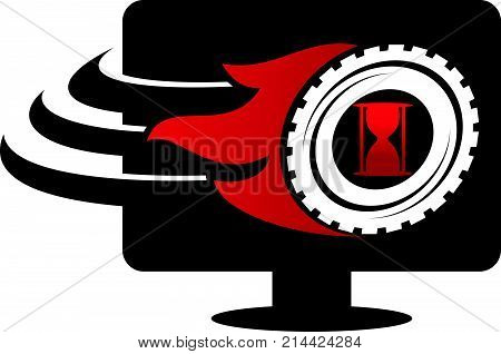 Monitor Gear Speed Sand Timer Logo Design Template Vector