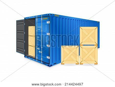 Vector of cargo container or shipping container and wood crate for logistics and transportation work isolated on white background.