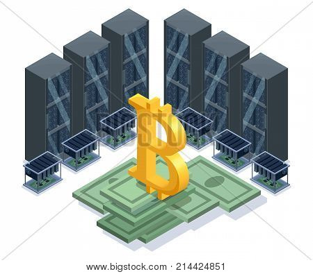Isometric bitcoin mining farm, video circuit and server, computer, cryptocurrency mining concept, financial isometric 3d vector illustration
