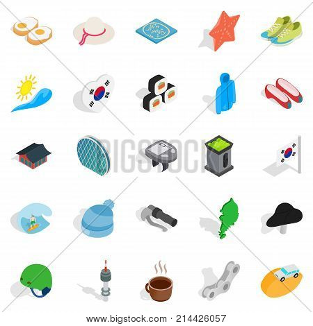 Life position icons set. Isometric set of 25 life position vector icons for web isolated on white background