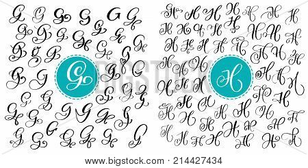 Set letter G and H. Hand drawn vector calligraphy. Script font. Isolated letters written with ink. Handwritten brush style. Hand lettering for logos packaging design poster.