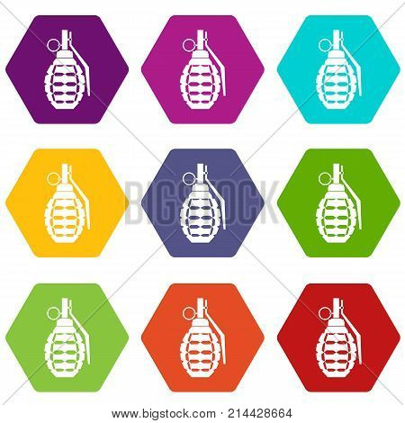 Hand grenade, bomb explosion icon set many color hexahedron isolated on white vector illustration
