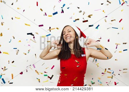 Pretty Caucasian Young Happy Woman With Healthy Skin And Charming Smile Wearing Red Dress And Christ