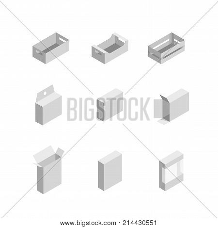 packaging box. Isometric set images of different pack box. closed and open cardboard boxes icons. Vector illustration