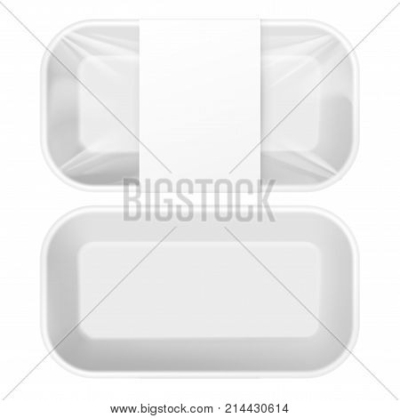 White Styrofoam Food Tray pack with film and label for branding. Template For Mock up Your Design. vector illustration.