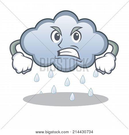 Angry rain cloud character cartoon vector illustration