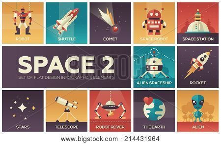 Space - set of flat design infographics elements. Colorful collection of square web icons. Robot, shuttle, comet, station, alien spaceship, rocket, stars, telescope, rover, the Earth