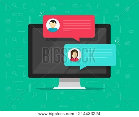 Computer online chat vector illustration, flat cartoon design of desktop pc with chatting bubble notifications, concept of people messaging on internet, on-line communication icon isolated