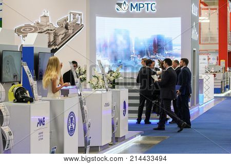 St. Petersburg, Russia - 3 October, Group of business people on the forum, 3 October, 2017. Participants and visitors of the annual St. Petersburg Gas Forum.