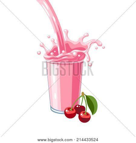 Colorful fruit milkshake design. Pink milky flow and splash in full glass of cherry milk shake. Vector illustration cartoon flat icon isolated on white.