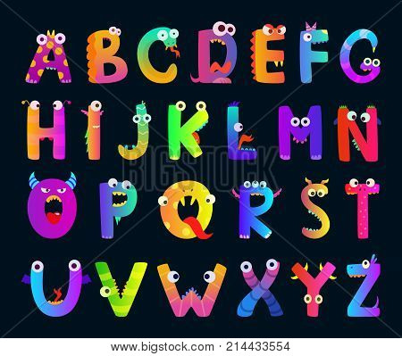 Kids alphabet with funny monster letters. Vector cute characters. Alphabet character monster, funny cartoon letter abc illustration
