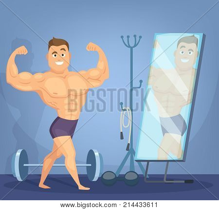 Muscular man posing a front of mirror. Bodybuilder standing in static pose. Bodybuilder cartoon in mirror, bodybuilding sport for body. Vector illustration