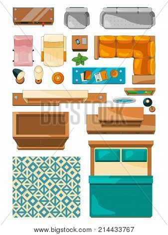 Different icons of furniture top view. Vector illustrations for create layout of apartment. Furniture bedroom, interior and plan apartment