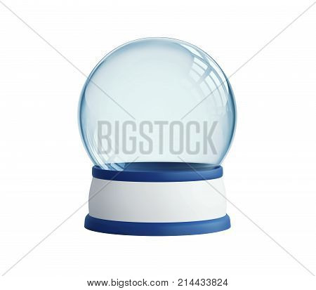 Empty snow globe isolated on white. 3D rendering with clipping path
