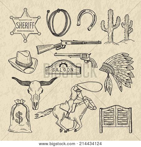 Monochrome hand drawn illustrations of different wild west symbols. Western pictures set isolate. Wild west vintage, cactus and sheriff star vector