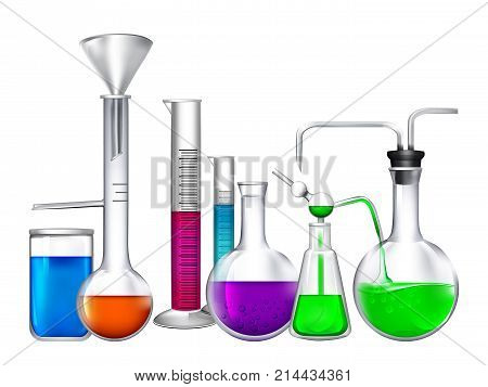 Glass tube with different chemical liquid ingredients. Laboratory eqipment. Tube glass for laboratory with liquid, chemical research and experiment, vector illustration