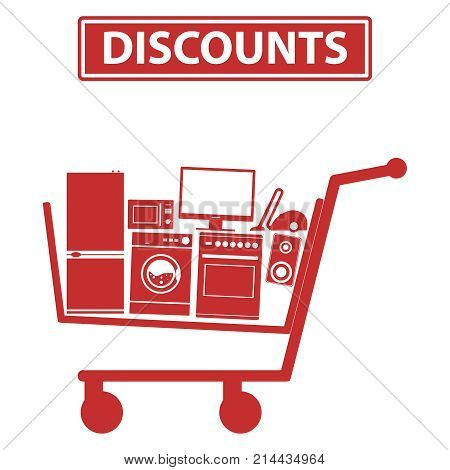 Mobile shopping trolley icon mobile trolley with household appliances. Flat design vector illustration vector.