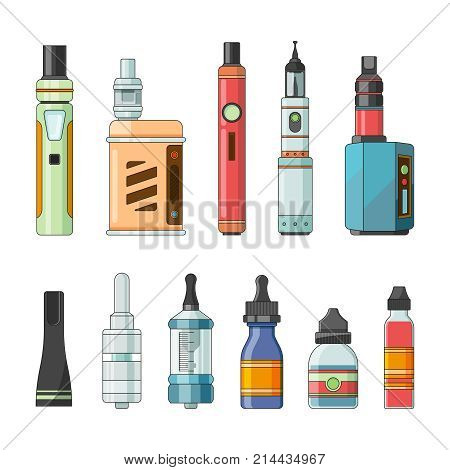 E cigarettes and different electric tools for vaping. Vapor and e-cigarette, electric cigarette, vaporizer e-cig illustration
