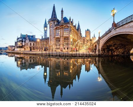 Ghent Belgium during night Gent old town