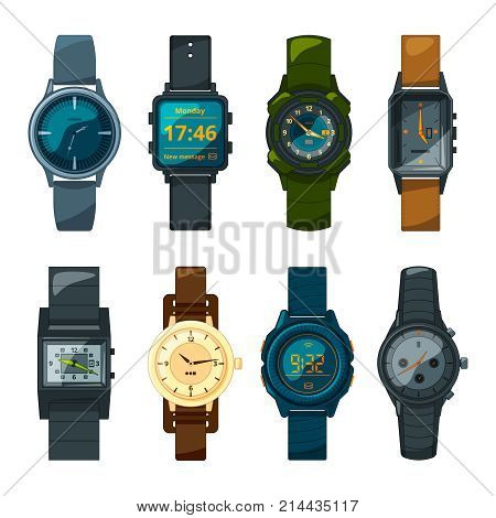 Set of different hand watch for male and female. Watch hand and wristwatch digital and mechanical. Vector illustration