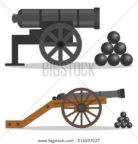 A cannon a retro cannon a military cannon. Flat design vector illustration vector.