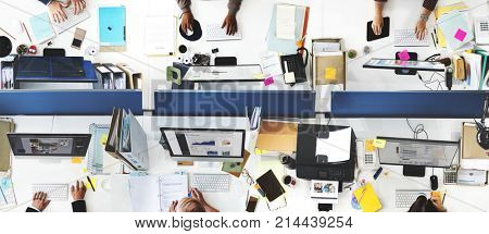 Daily life of business people at the office