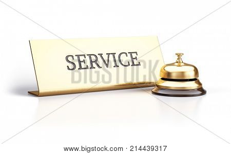 Golden reception bell and service sign isolated on white background - 3d rendering
