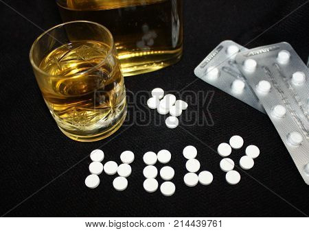 Danger unhealthy lifestyle concept drug abuse synthetic seative hypnotic psychiatric opium prescribed narcotics pills and alcohol poster