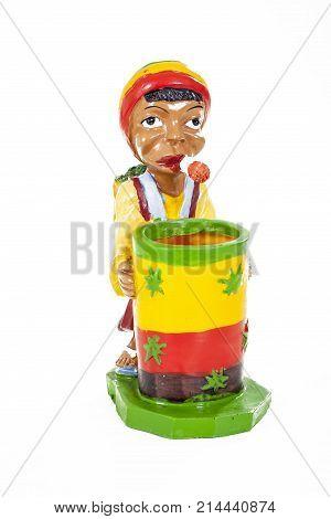 Hippy man smoke joint. Weed. Grass. Weed man on isolated white background. Green yellow red. Symbol. Weed ashtray. Hippy weed ashtray. Junkie. Drug. Drugs. Drug holder. Cannabis box Marijuana Photo