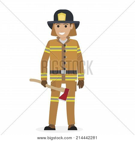 Cheerful firefighter in protective suit and black hat holding ax with red head close-up vector illustration on white background