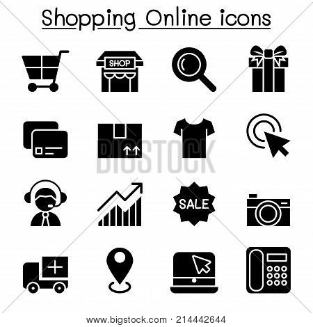 Shopping online & E-commerce icon set vector illustration graphic design