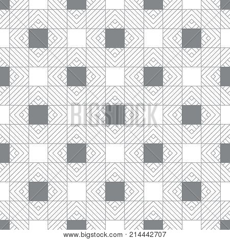 Vector seamless pattern. Modern stylish texture. Regularly repeating geometrical ornament with linear rhombuses diamonds checks. Classical abstract textured background.