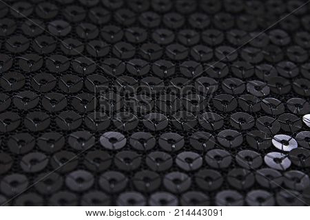 Sequins sequin pailette background. Mirror dress material cloth texture pattern. Tailoring stitching concept. Shiny mirrored fashion fabric. Shiny clothing material sample. Creased fabric. Colorful.