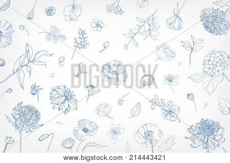 Beautiful horizontal backdrop with scattered blooming garden flowers, leaves, buds, inflorescences hand drawn with blue contour lines on white background. Elegant botanical vector illustration