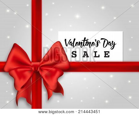 Valentines' Day Sale web banner vector illustration flyer concept. Valentines Day beautiful silk ribbon bow white card with text sparkles over bright gray background. Valentine Day promo concept. Valentine's Day background.