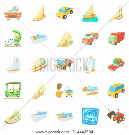 Catch the car icons set. Cartoon set of 25 catch the car vector icons for web isolated on white background