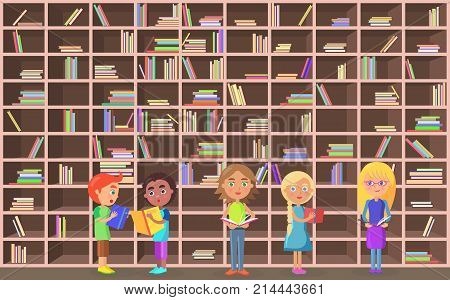 Five schoolchildren holds literature on library background vector illustration. Brown shelves with color books in big bookcase