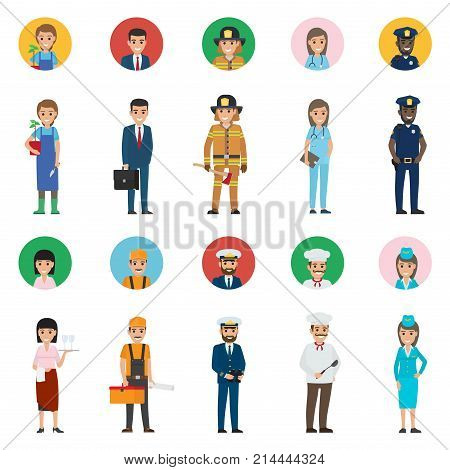 Vector of policeman and lifesaver, mariner and cook with ladle, stewardess and doctor, manager and builder with tool box, gardene and waiter